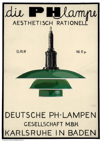 poulsen ph lampe gr n tyskland retro plakater. Black Bedroom Furniture Sets. Home Design Ideas