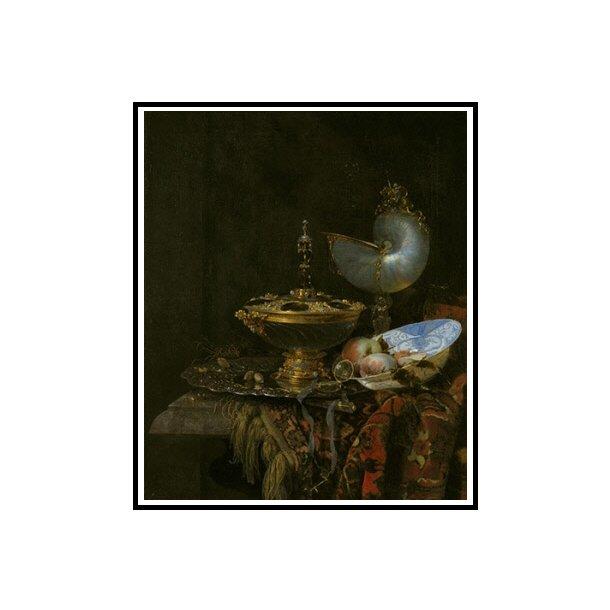 Kalf, Pragtstilleben med Holbeinskål, Nautilus- og glaspokal og frugtskål