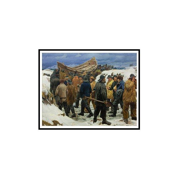 Ancher, Redningsbåden køres gennem klitterne