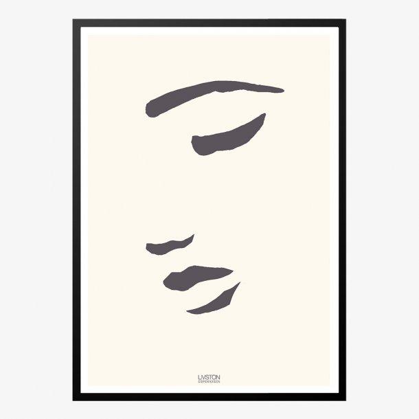 Halvt ansigt illustreret designplakat