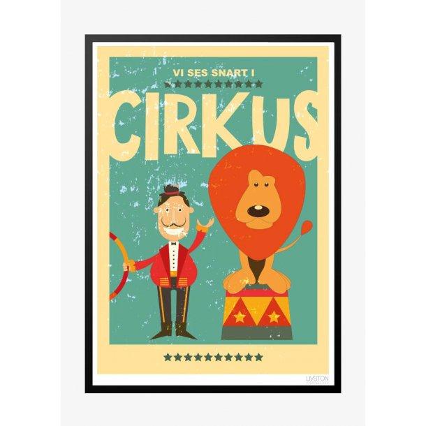 Cirkusplakat med løve. Børneplakat.