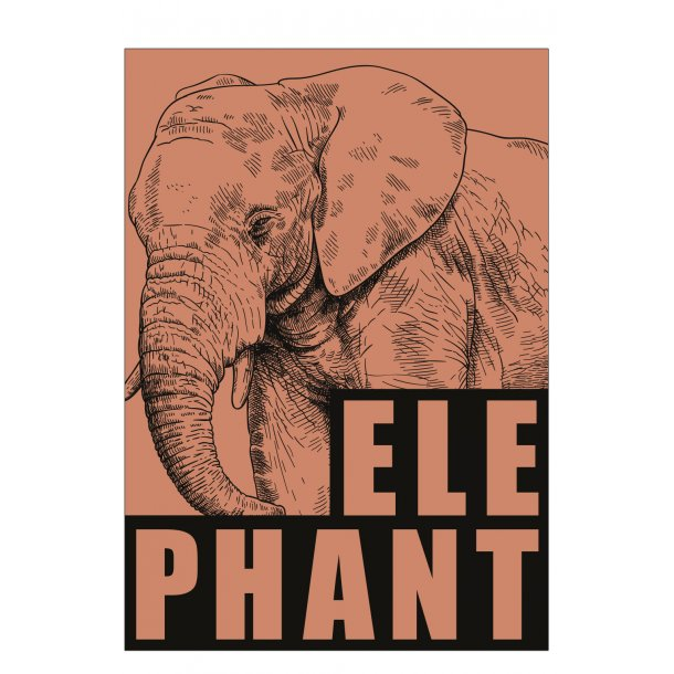 Elefant / Elephant - rød/jord. Sebastian Klein