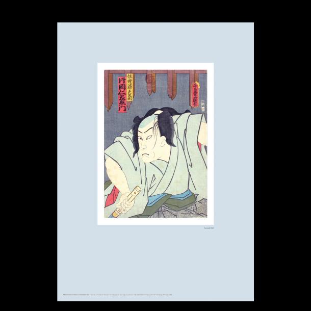 Japansk træsnit. Kunisada. Pastel blå