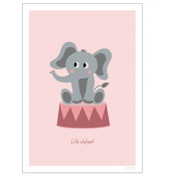 Børneplakat med elefant i cirkus (Lyserød). Børneplakat.