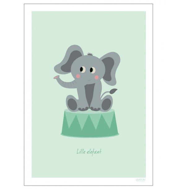 Børneplakat med elefant i cirkus (Grøn)