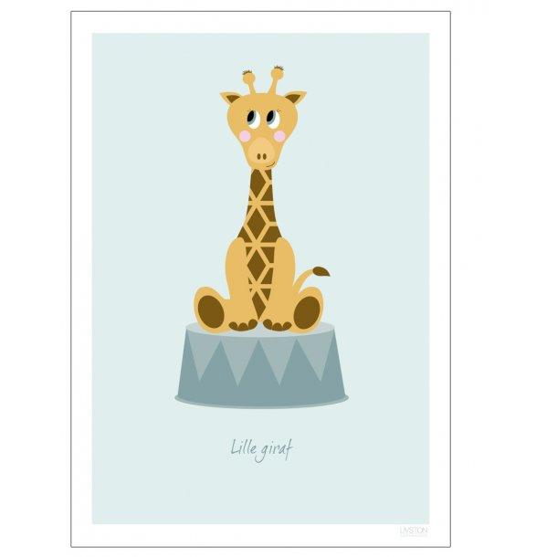 Børneplakat med giraf (Blå). Børneplakat.