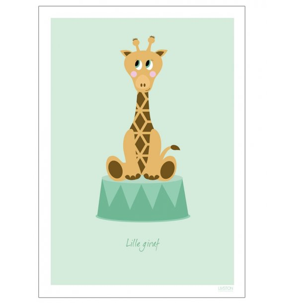Børneplakat med giraf i cirkus (Grøn)