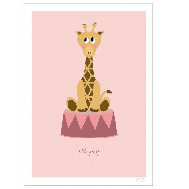 Børneplakat med giraf i cirkus (Lyserød)