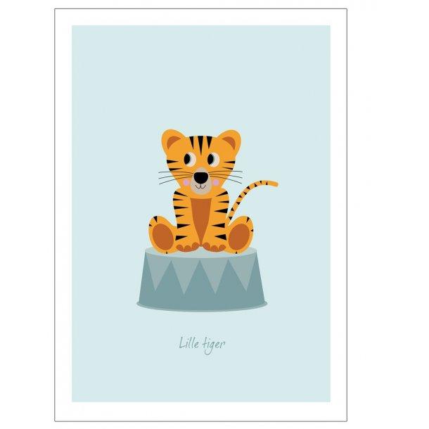 Børneplakat med tiger i cirkus (Blå)