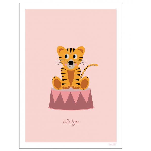 Børneplakat med tiger i cirkus (Lyserød)