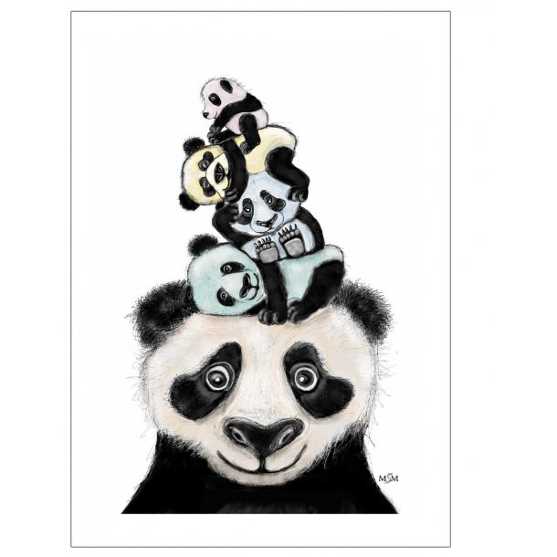 Panda illustration. Plakat med dyr.