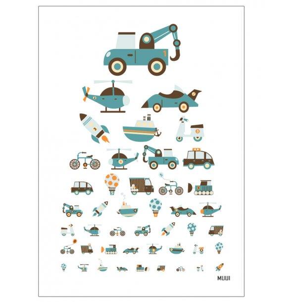 MUUI synstavle med biler, cykler, raketter mm. Børneplakat.