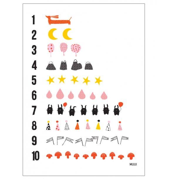 MUUI taltavle 1-10 – rød. Børneplakat.
