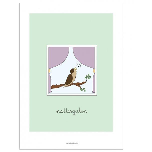 H.C. Andersen - Nattergalen. Børneplakat.