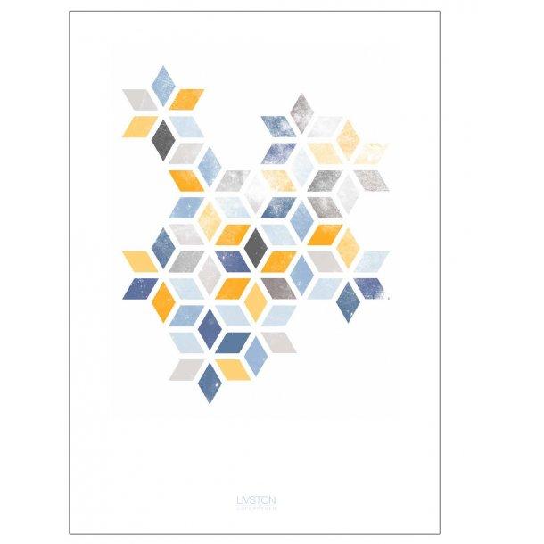 Abstrakt print | blue/yellow. Designplakat.