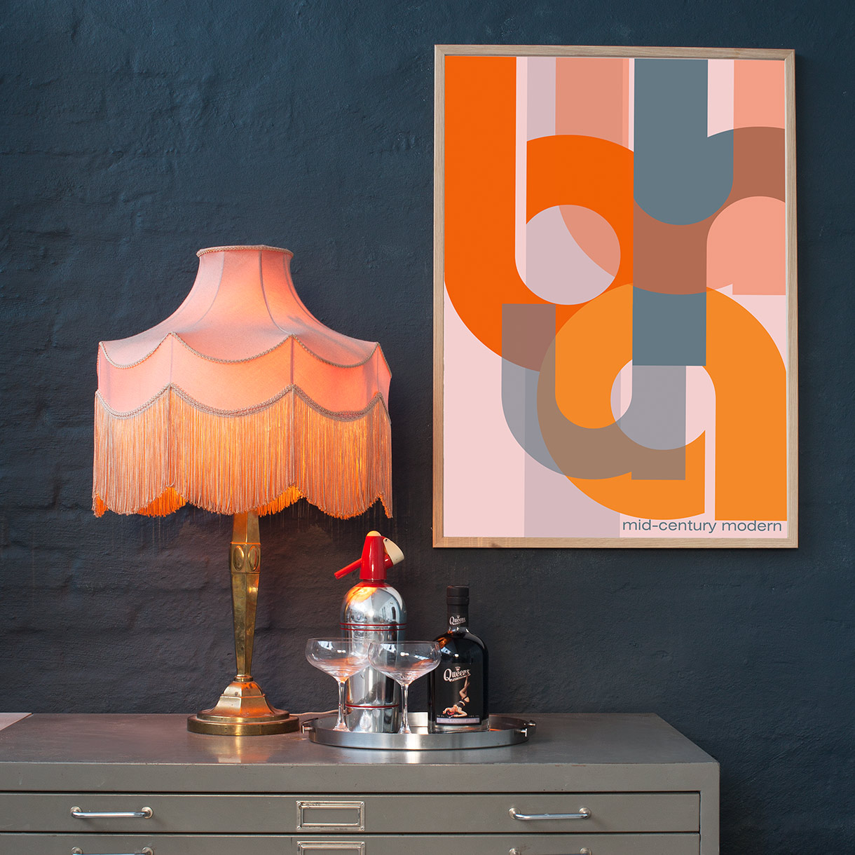Picture of: Orange Modern Bauhaus Plakat Plakater Permild Rosengreen