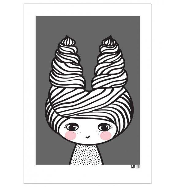 MUUI - Pige i grå. Plakat.