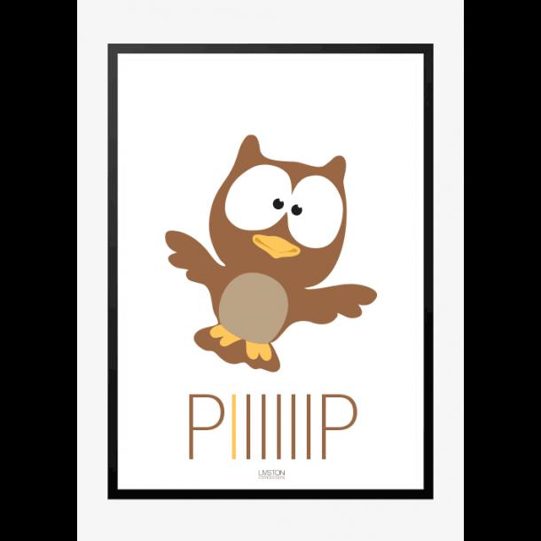 Ugle - piiiiiip - Børneplakat