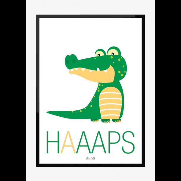 Krokodille - HAAAPS - Børneplakat