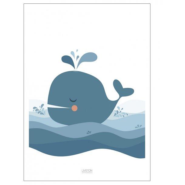 Børneplakat med sød hval