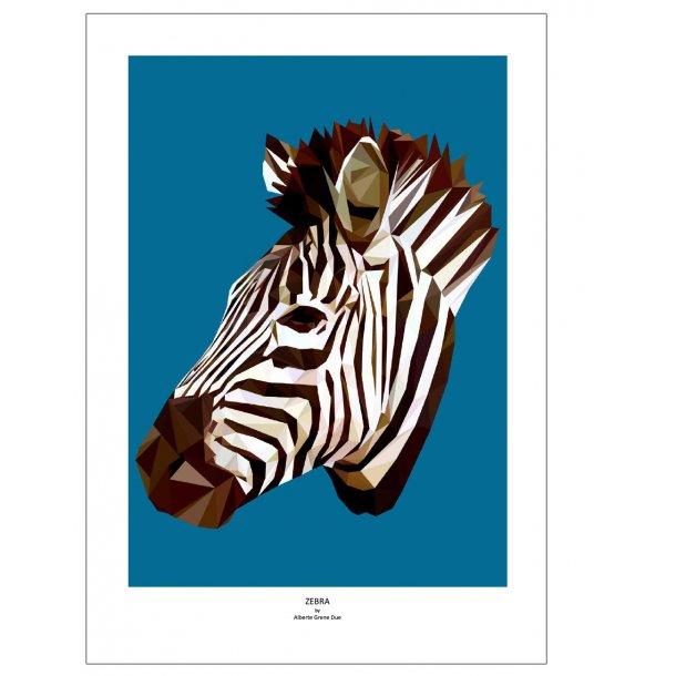 Zebra. Designplakat med dyr.
