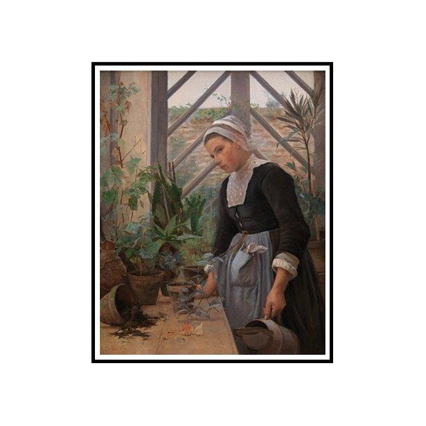 Petersen, Bretagne-pige ordner planter i et drivhus