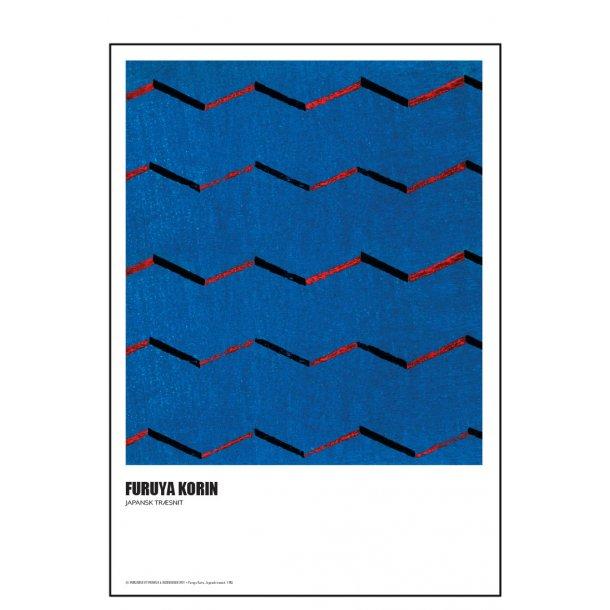 Furuya Korin. Japansk træsnit – blå rød