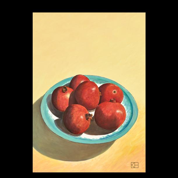 Plakat med granatæbler på blå tallerken
