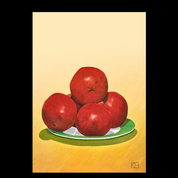 Plakat med granatæbler på grøn tallerken