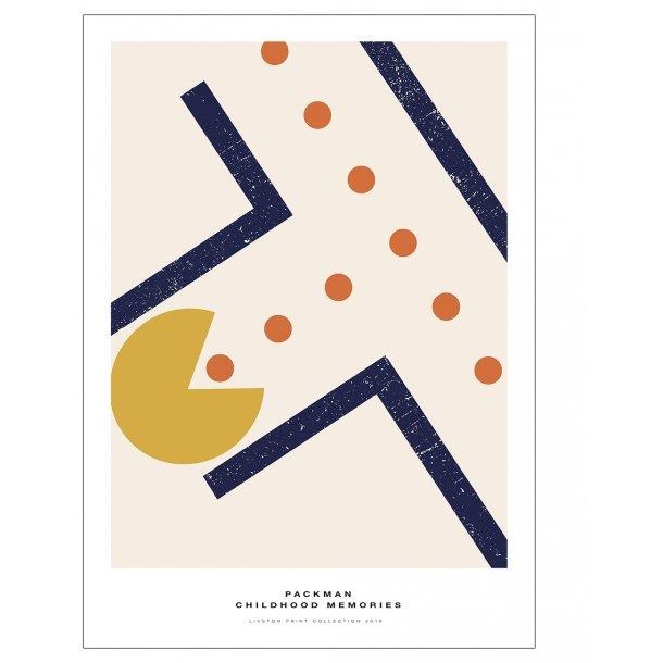 Pac-Man plakat. - Childhood memories. Blå