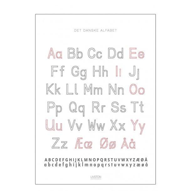 Det danske alfabet. ABC plakat