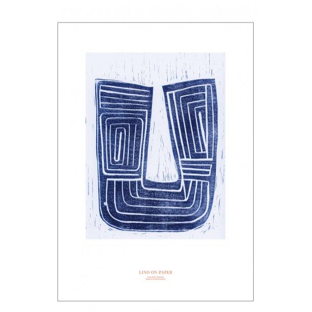 Lino on paper, blå. Print edition.