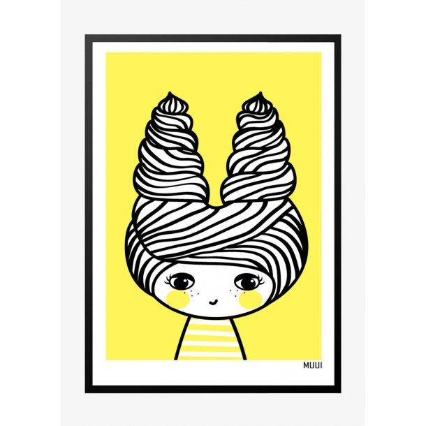 MUUI – Pige i gul. Plakat.