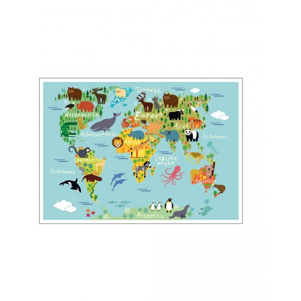 Verdenskort med dyr. Børneplakat.