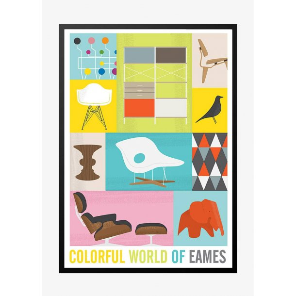 Colorful World of Eames. Retro poster.
