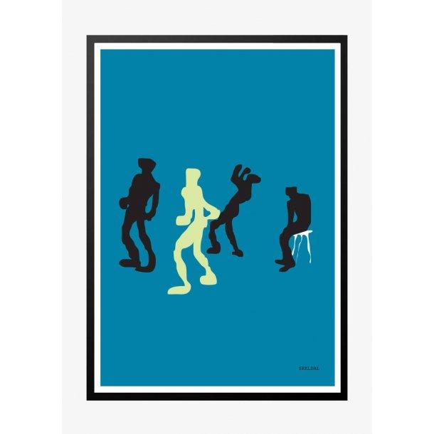 Dance - dansene silhuetter. Plakat.