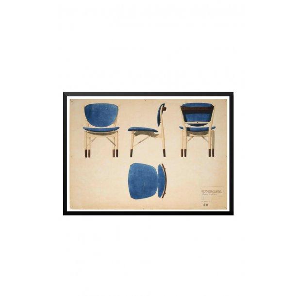 Stol med polstret sæde og ryg. A5 size mini poster in frame. Finn Juhl