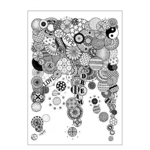 Hope - love - dream illustration - plakat