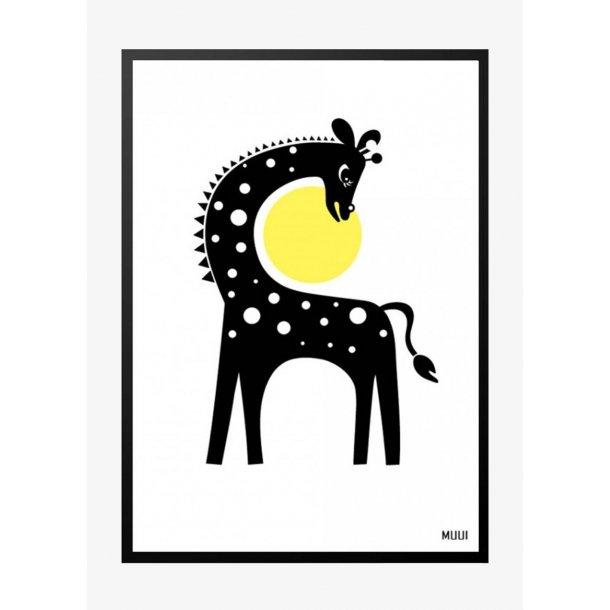 MUUI – Giraf i gul. Plakat.