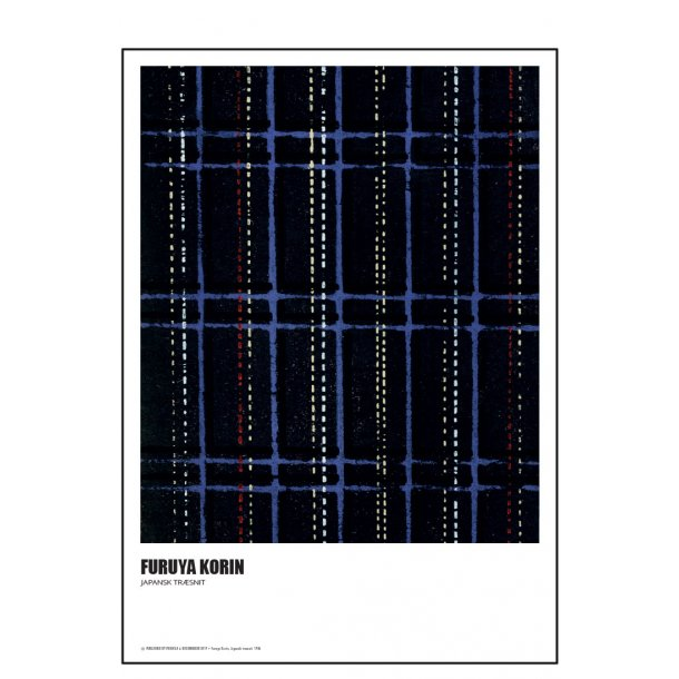 Furuya Korin. Japansk træsnit – blå og sort