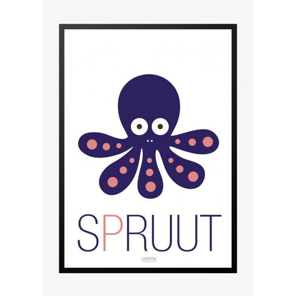Blæksprutte – spruut – Børneplakat