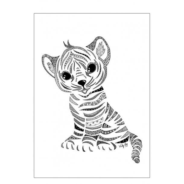 Tigerunge plakat. Doodle illustration