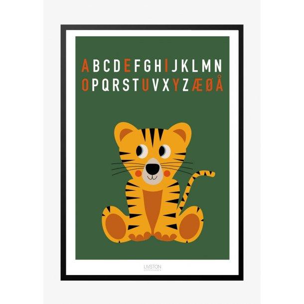 Tiger bogstav plakat - grøn. ABC plakat.