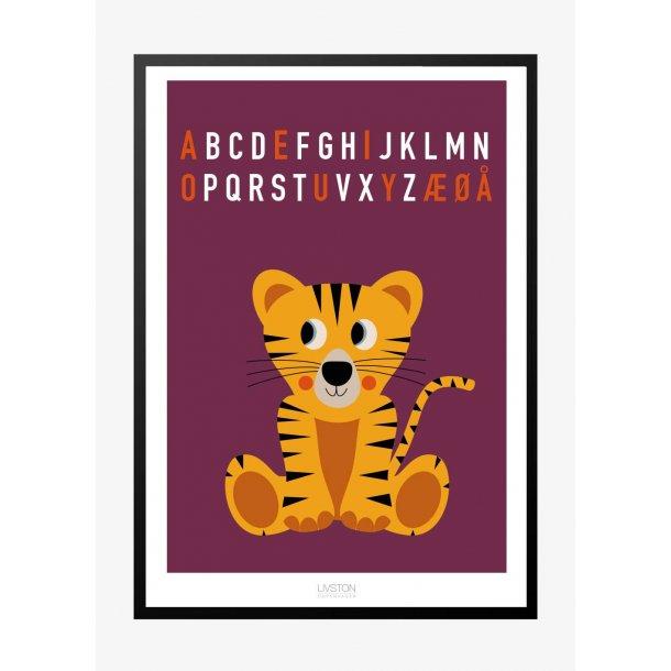 Tiger bogstav plakat - lilla. ABC plakat.