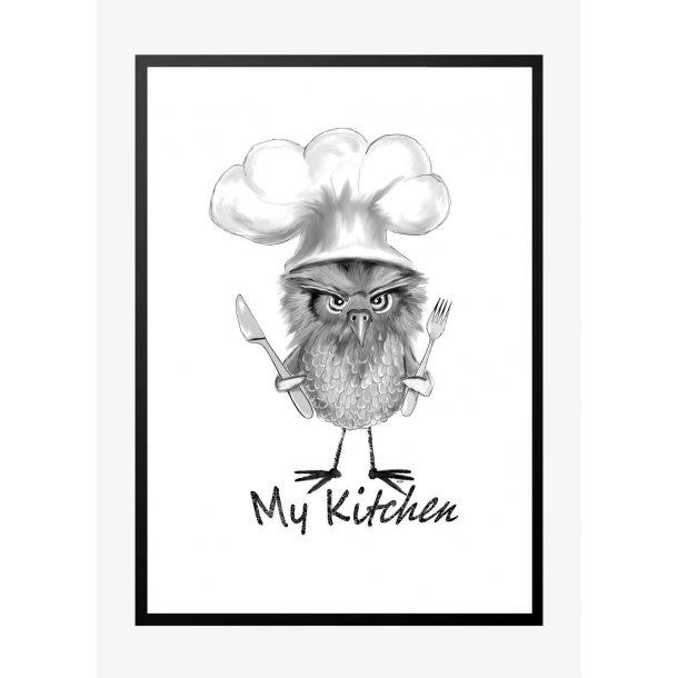 Mit køkken med ugle. Køkkenplakat.