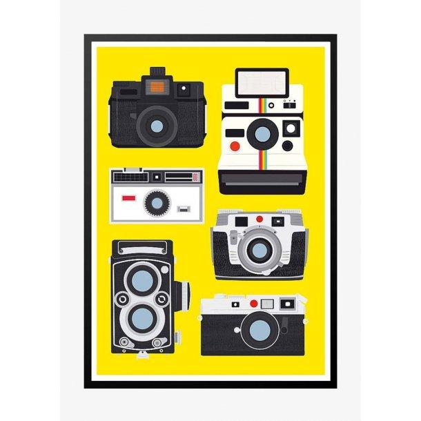Vintage camera and polaroid. Retro poster.